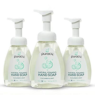 Puracy Natural Foaming Hand Soap, Sulfate-Free Hand Wash, Cucumber & Mint, 8.5 Ounce (3-Pack)