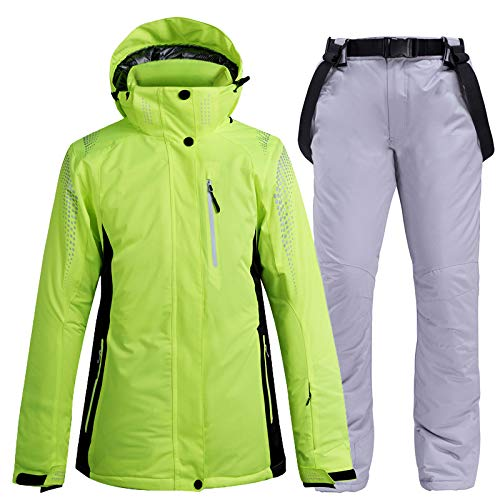 Ski Latzhose Jacke Wasserdichter Schneeanzug Für Damen Und Herren Skitouren, Outdoor Skijacke Und Hose Set, Fluoreszierende Grüne Jacke,H,M