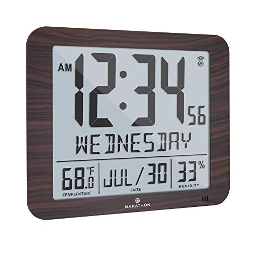 "Marathon Slim Atomic Full Calendar Wall Clock with Large 3.25"" Digits, Indoor Temperature and Humidity - Batteries Included - CL030067WD (Wood Grain Finish)"