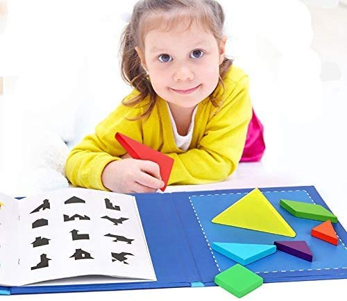 HYLL 7pcs Wooden tangram Jigsaw Puzzle Book for Kids Brain Game Toy Brain Intelligence Maths Game Educational Gift for Toddlers
