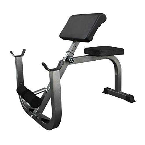 MINIKID Arm Curl Weight Bench with Dumbbell Rack, Isolated Barbell Dumbbell Biceps Station Roman Chair for Home G-ym Abs Strength Training Upper Limb Muscle Workout【US Fast Shipment】 (Black)
