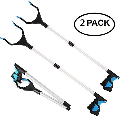 2 Packs - Reacher Grabber Pick Up Tool, 32' Foldable Extender Gripper Tool, Lightweight Long Duty Mobility Aid, Claw Trash Garbage Picker, Long Arm Reaching Claw,Blue