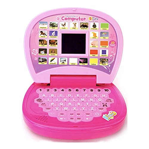 ROUUEN Educational Computer ABC and 123 Learning Kids Laptop with LED Display and Music (Pink Color)
