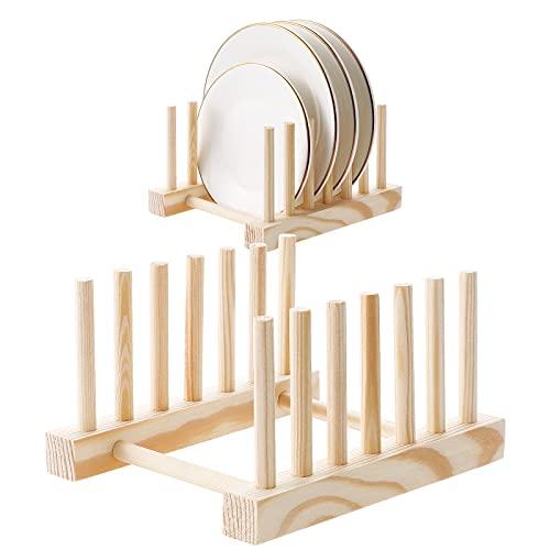 HonGien 2 piezas, estante de madera, escurridor, estante de secado, organizador de armario de cocina (6 cuadrículas) apto para almacenamiento de CD, vajilla, libro, copa de vino