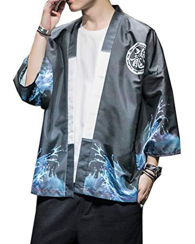 Aden Uomo Cardigan Kimono Camicia Top Stile Cinese Stampato Casual Baggy Giacche Cappotto
