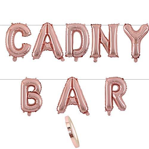 Letras de globos de papel de aluminio de 16' con guirnalda de pancartas Letras de CANDY BAR en globos de oro rosa como decoración de bodas,saludo,regalo de fiesta,sorpresa fotorreal o de recepción