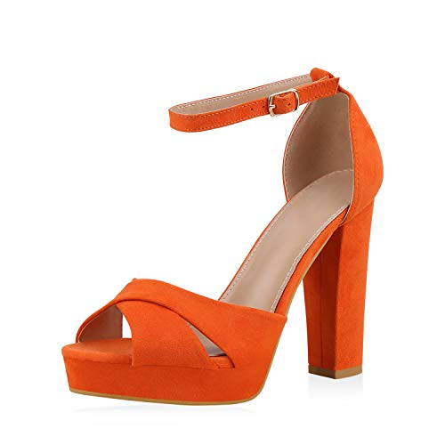 SCARPE VITA Damen Plateau Sandaletten Party Schuhe Blockabsatz High Heels Wildleder-Optik Absatzschuhe Riemchensandaletten 182739 Orange Total 40