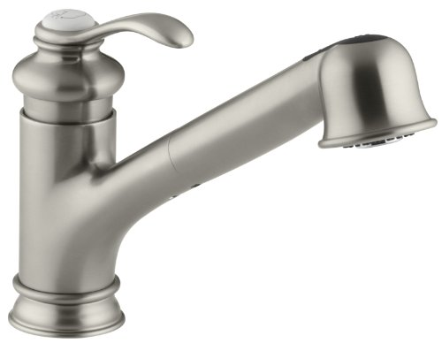 KOHLER K-12177-PB Fairfax(R) Single Three-Hole Sink 9' Pull-Out spout Kitchen Faucet, Vibrant...