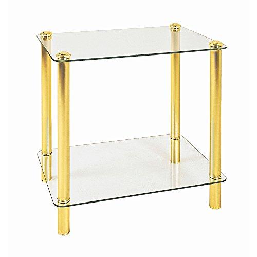 Haku Möbel Mesa de centro - Mesa redonda de vidrio con aspecto dorado, altura 50 cm