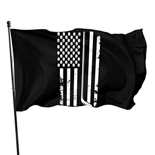 HGHGH American Flag Hockeyschläger und Puck American Flag 3x5 Ft bedrucktes Polyester Einseitiges US-Militärbanner Außenflaggen Messingösen