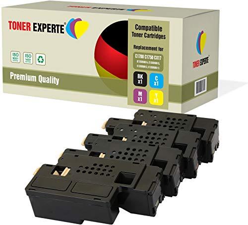 Pack de 4 TONER EXPERTE® Compatibles Cartuchos de Tóner Láser para Epson AcuLaser C1750N, C1750W, CX17NF, CX17WF, C1700, C1750, CX17 ⭐