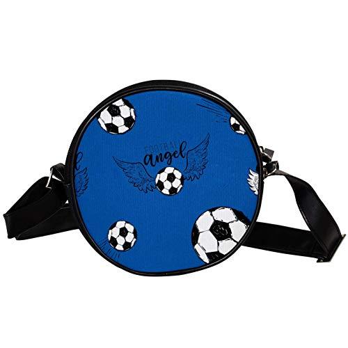 Fliegender Fußball Fußball mit Engelsflügel-Muster, diagonale Tasche, runde Umhängetasche, Umhängetasche, modische Kreise, Umhängetasche, Mini-Umhängetasche aus Segeltuch, schräg
