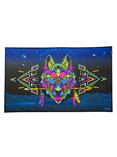 PSYWORK Schwarzlicht Stoffposter Neon Sentymo Wolf, 0,50x0,82m