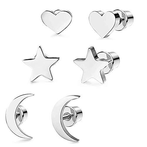 Fu You Pendientes de Acero Inoxidable 3 Pares Aretes de Estrella Luna y Corazón de Las Pequeños Pendientes para Mujer Hombre (Plata)