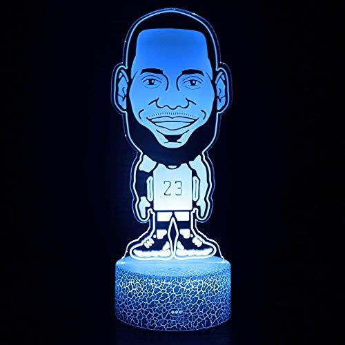 NBA Basketball Star Player LeBron James LBJ Dibujos animados Big Head Retrato 3D Acrílico LED Luz nocturna Boy Fans Dormitorio Club Oficina Lámpara de mesa USB Regalo para niños Decoración para e
