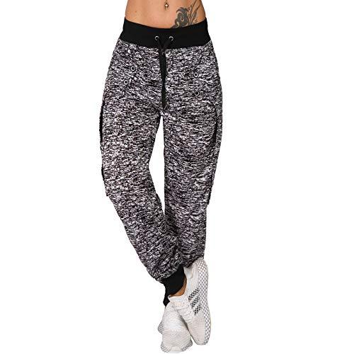 Candygirls Jogging Hose Reißverschluss Trainingshose Sporthose Leiste Fitness Taschen Lang MSK3555 (Schwarz, L 40)