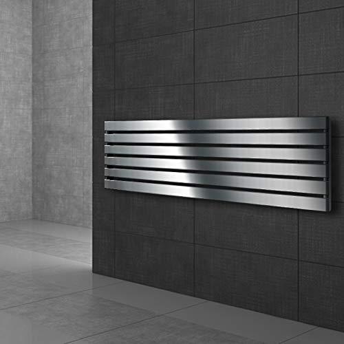 ECD Germany Radiador toallero para baño - 370 x 1400 mm - Cromado - Plano - Diseño vertical - Toallero de agua - Radiador de diseño - Calentador de baño - Calefaccion de pared - No eléctrico
