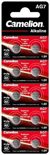 Camelion 12051007 Alkaline Knopfzellen ohne Quecksilber AG7/LR57/LR926/395/1,5 Volt, 10er-Pack
