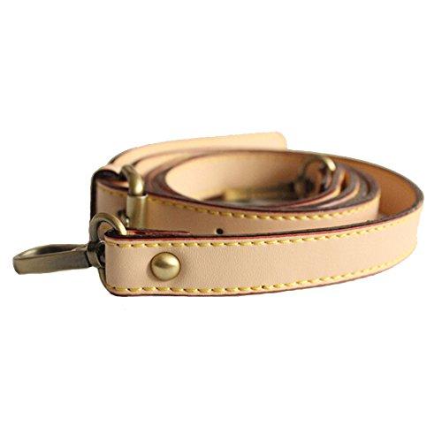 Neuleben Schulterriemen echtes Leder 120cm verstellbar Schultergurt Riemen Gurt Lederriemen für Schultertasche Umhängetasche (Beige)
