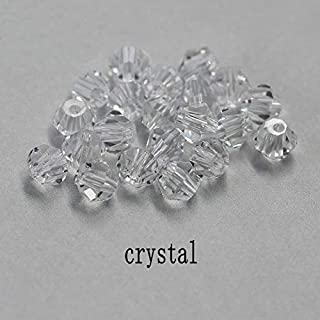 XBBH Buy 1 and get 1 free 4mm shiny Crystal beads Bicone Beads Glass Beads Loose Spacer Beads for bracelet DIY Jewelry Making 200pcs DIY sewing beads (Color : Crystal, Item Diameter : 4mm)