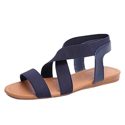 Women's Sandals Ladies Shoes Low Heel Anti Skidding Beach Shoes Peep-Toe Casual Walking,Blue,7.5