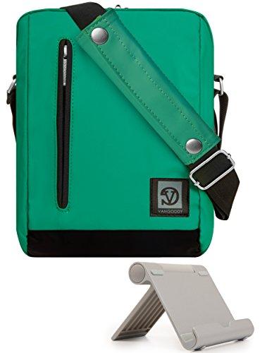 VanGoddy Jade Green Anti-Theft Vertical Crossbody Sling Messenger Bag for Lenovo Tab 10, Tab 4 8 & 8 Plus, Tab 4 10 & 10 Plus, Tab 3 7 & 8 + Tablet Stand
