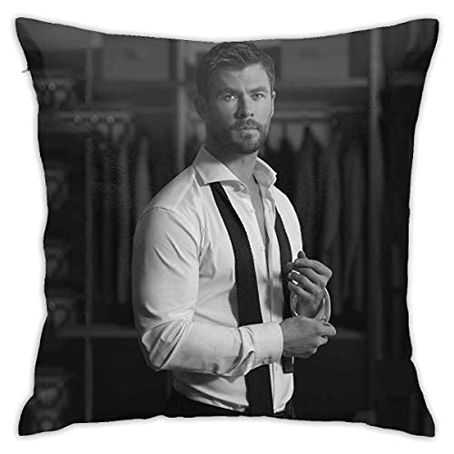 ZQLXD Chris Hemsworth Funda de almohada de poliéster suave cuadrado con cremallera, funda de almohada One45 x 45 cm