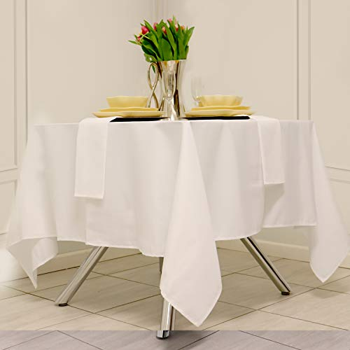 Kadut Square Tablecloth 52 x 52 Inch White Square Table Cloth for Square or Round Table | Heavy Duty | Washable Tablecloth for Parties, Weddings, Kitchen, Restaurant, Wrinkle-Resistant Table Cover