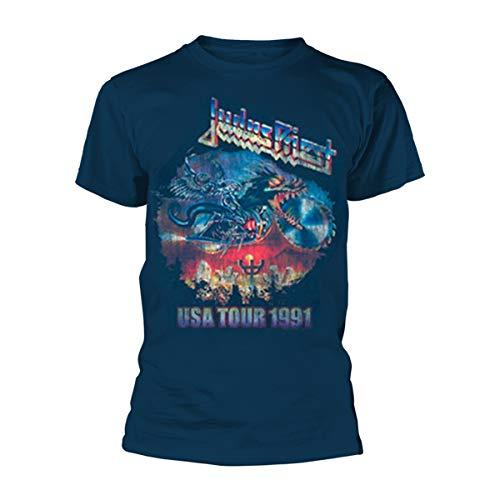 T-Shirt # M Blue Unisex # Painkiller Us Tour 91 [Import]