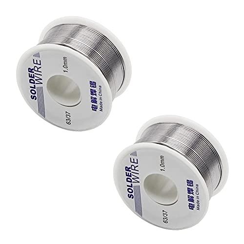Fil de soudure,2 pièces 1.0mm 100g 60/40 Fil à Souder Sans Plomb pour de soudure Sn avec Colophane Base pour Soudure Électrique