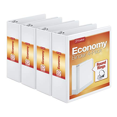 Cardinal Economy 3 Ring Binder, 3 Inch, Presentation View, White, Holds 625 Sheets, Nonstick, PVC Free, 4 Pack of Binders (00430)