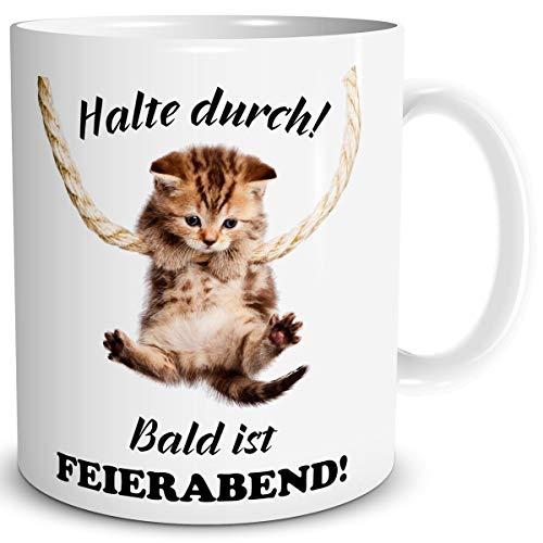 TRIOSK Tasse Katze lustig mit Spruch Halte Durch Katzenmotiv Geschenk für Arbeit Büro Katzenliebhaber Frauen Freundin Kollegin