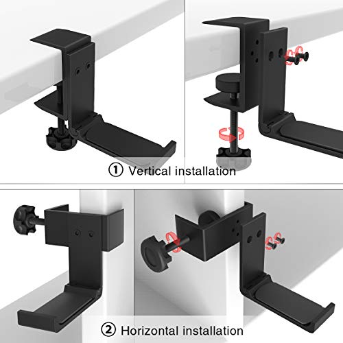 Foldable Headphone Stand Hanger Holder Bracket Aluminum Headset Soundbar Stand Clam   p Hook Under Desk Space Save Mount Fold Upward Not in Use, Universal Fit All Headphones, Black