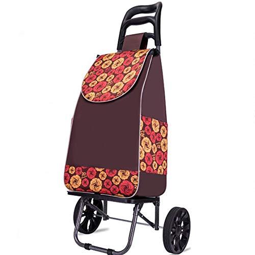 KDMB Handwagen Garten Bollerwagen,2 Wheel Trolley Einkaufstrolley Klappbar Treppensteigerfunktion Abnehmbare Tasche Cool Movers Stabiler Shopper Brown