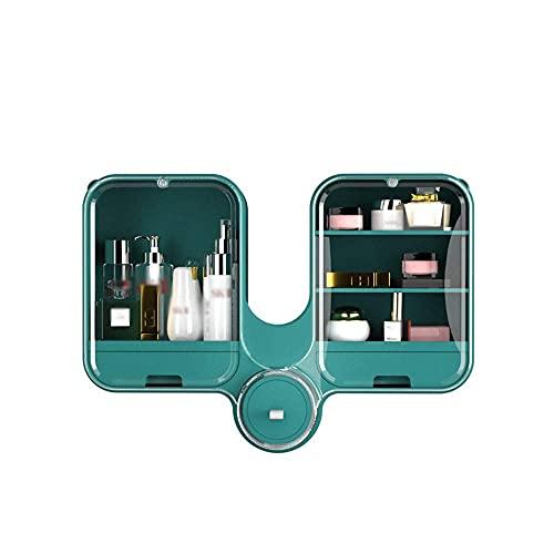 Caja de maquillaje Baño Impermeable y a prueba de polvo Montado en la pared Punzonado libre y a prueba de polvo Vanidad a prueba de polvo Almacenamiento de cosméticos y pantalla Adecuado para encimera