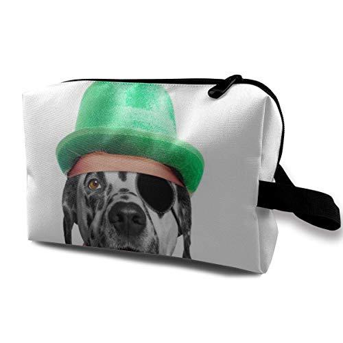 Mignon Dalmatien Chien Portant Un Chapeau Vert Portable Voyage Cosmétique Sacs Maquillage Organisateur Sacs Grande Capacité Toilette Organisateur Cas Voyage Pochette Bourse