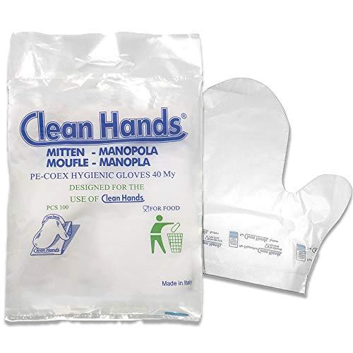 Clean hands Hygiene-Handschuhe, 100 Stück, HACCP, Lebensmittelhandhabung, ideal für Bäckerei, Supermarkt, Obst und Gemüse, aus strapazierfähigem Polyethylen, 40 my
