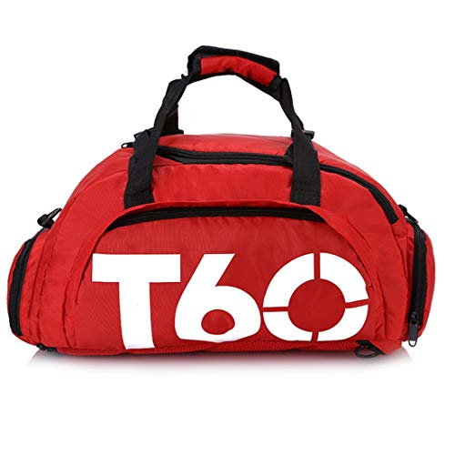 CEQR Bolsas de Gimnasio Men Sport Gym Bag Women Fitness Impermeable Al Aire Libre Espacio Separado para Zapatos Bolsa Mochila Ocultar Mochila Sac, Rojo Blanco