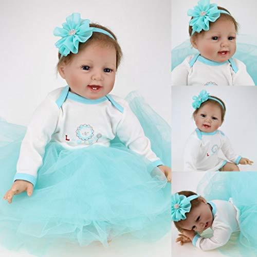 HRYEOY Reborn Babys 22''/55cm Lebensechtes Silikon Vinyl Reborn Baby Puppe Mädchen Realistisch Offene Augen Reborn Toddlers Geschenke Magnetisches Spielzeug Geschenke
