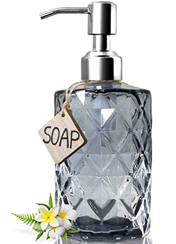 JASAI Diamond Design Glass Soap Dispenser with 304 Rust Proof Stainless Steel Soap Pump, 12 Ounce Kitchen Soap Dispenser for Bathroom, Hand Soap, Dish Soap (Grey)