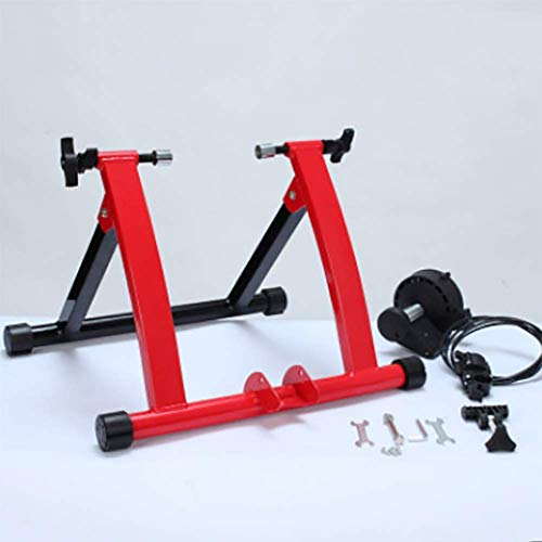 AUKLM Bicycle Turbo Trainer Magnetic Bike Trainer Stand W Wire Control Adjuster, Noise Reduction, Quick-Release & Front Wheel Riser Resistance Foldable Bicycle Exercise Stand for Mountain