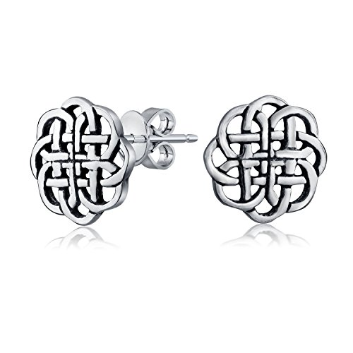 Mens Women Tiny Medallion Shield Celtic Knot Work Viking Gebo Love Round Circle Stud Earrings 925 Sterling Silver