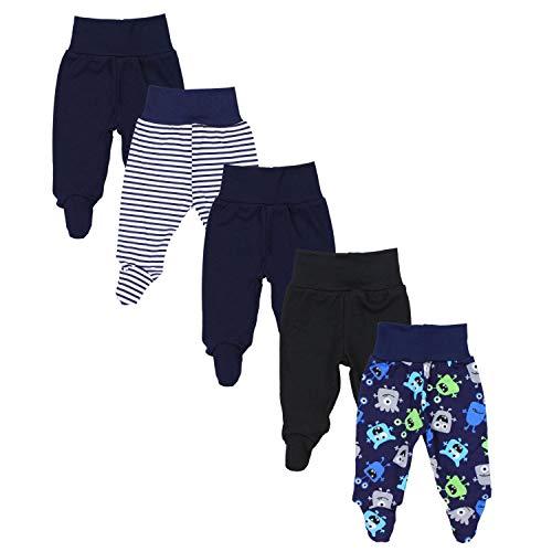 TupTam Baby Unisex Hose mit Fuß Bunte 5er Pack, Farbe: Junge 7, Größe: 80