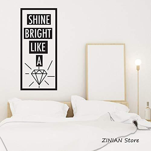 yiyiyaya Inspirierende Worte Wandtattoo Schlafzimmer Leuchten hell wie EIN Diamant Wandaufkleber zitieren modernes Dekor Abziehbilder abnehmbare Tapete weiß 56 x 124 cm