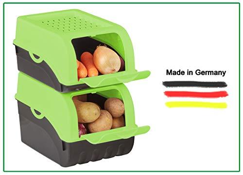 Novaliv Kartoffel Aufbewahrungsbox | klein 3,5L | GRÜN | Zwiebelbox | Gemüsebox stapelbar Kartoffelbox Zwiebel Aufbewahrung Kartoffelkorb Obstbehälter Kartoffelkiste Frischhaltedose Möhren