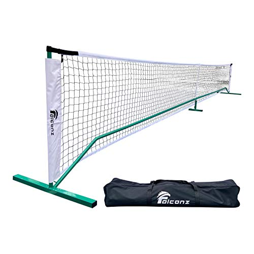 Falconz Regulation Size Pickleball Net for Outdoor and Indoor - Portable 22 Feet Long Net with Steel Frame and PE Netting - Carry Bag Included