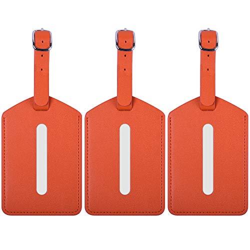 Wisdompro Bagage Tags, 3 Pack Premium PU Lederen Bagage Tag met Band Privacy Bescherming voor Reizen Identifier en Koffer Labels - Oranje