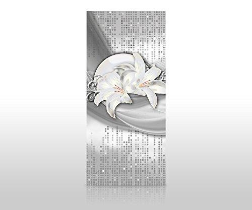 wandmotiv24 Duschrückwand abstrakte Lilien grau Silber 90 x 200cm (B x H) - Aluminium 3mm Duschwand Design, Keine Fugen M0524