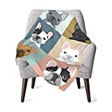 French Bulldogs Baby Swaddle Blanket Soft Minky for Girls & Boys Soft Silky Infant Or Newborn Receiving Swaddle Wrap Throw Blanket Travel Blanket Pet Blanket Sleeping Blanket