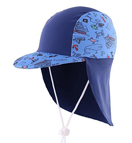 Home Prefer Boys Sun Hat Long Flap Quick Dry Sun Protection Cap with Visor Surf Up Swim Hat Ocean